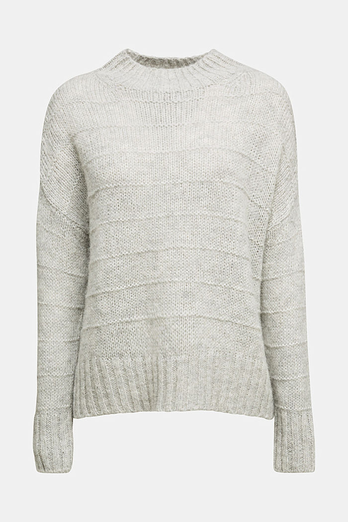 With wool and alpaca: textured jumper, LIGHT GREY, detail image number 6