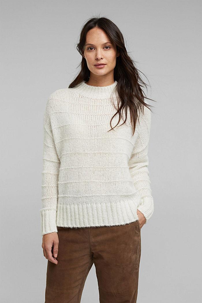 Mit Wolle und Alpaka: Struktur-Pullover, OFF WHITE, detail image number 0