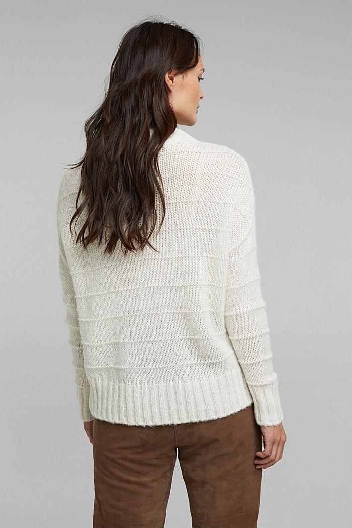Mit Wolle und Alpaka: Struktur-Pullover, OFF WHITE, detail image number 3