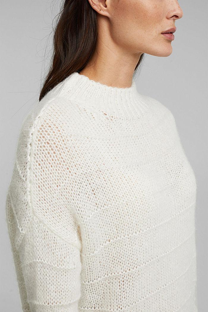 Mit Wolle und Alpaka: Struktur-Pullover, OFF WHITE, detail image number 2