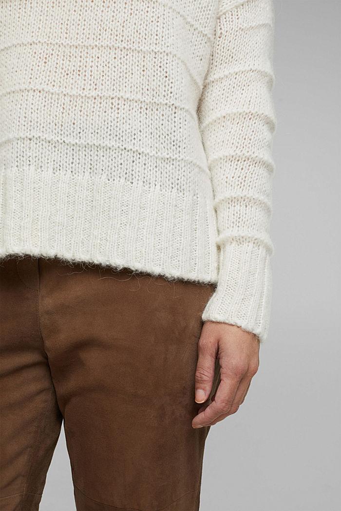 Mit Wolle und Alpaka: Struktur-Pullover, OFF WHITE, detail image number 5