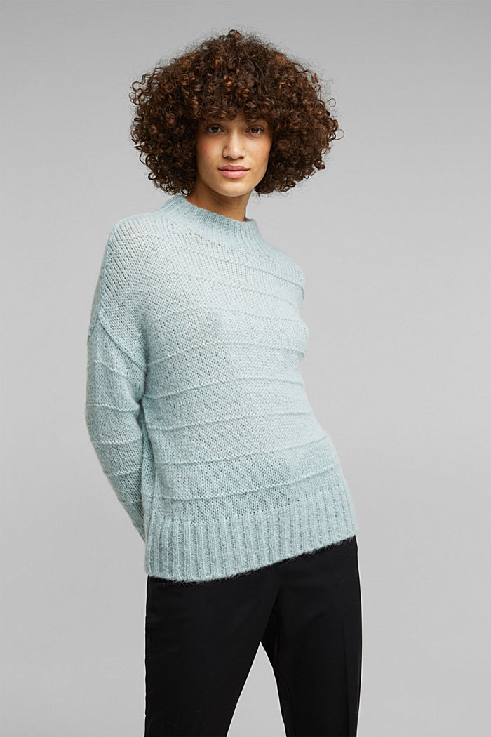 With wool and alpaca: textured jumper, PASTEL GREEN, detail image number 5