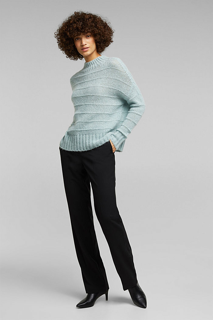 With wool and alpaca: textured jumper, PASTEL GREEN, detail image number 7