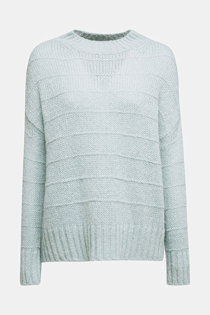 With wool and alpaca: textured jumper, PASTEL GREEN, detail image number 8