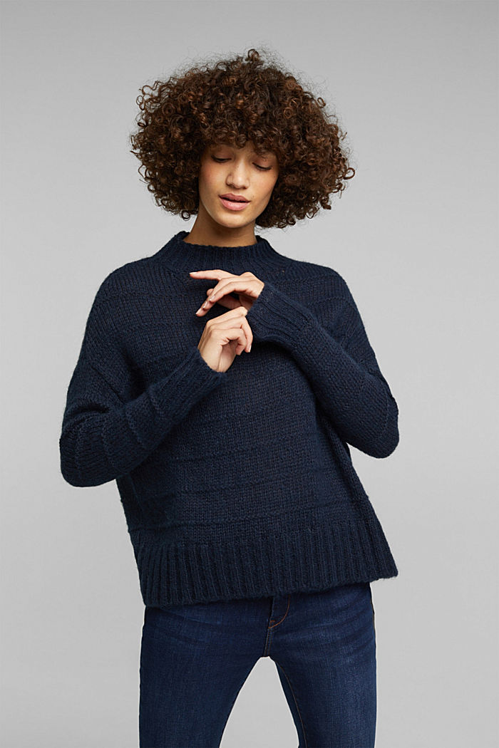 With wool and alpaca: textured jumper, NAVY, detail image number 0