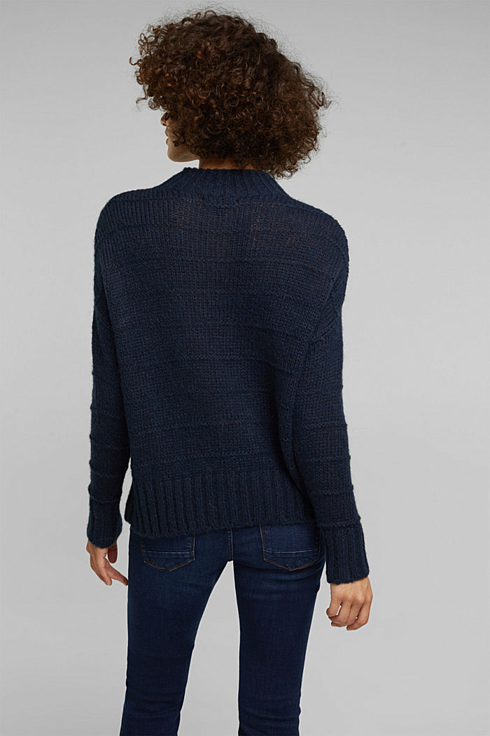 With wool and alpaca: textured jumper, NAVY, detail image number 3