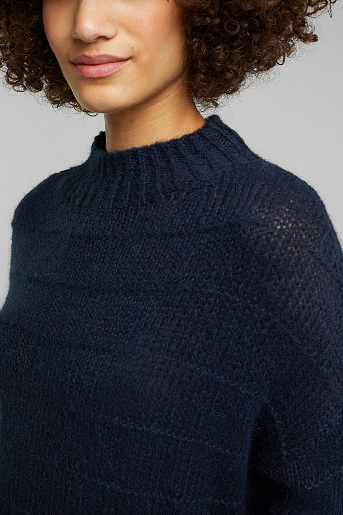 With wool and alpaca: textured jumper, NAVY, detail image number 2