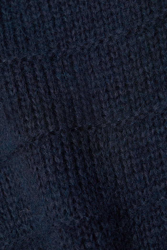 With wool and alpaca: textured jumper, NAVY, detail image number 4
