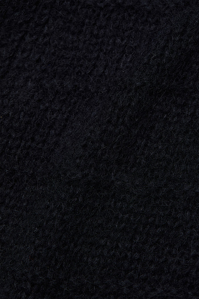 With wool and alpaca: Textured cardigan, BLACK, detail image number 4