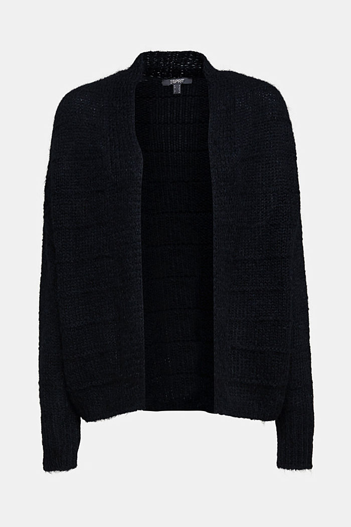With wool and alpaca: Textured cardigan, BLACK, detail image number 5