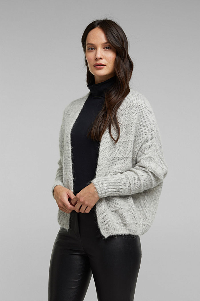 With wool and alpaca: Textured cardigan, LIGHT GREY, detail image number 0