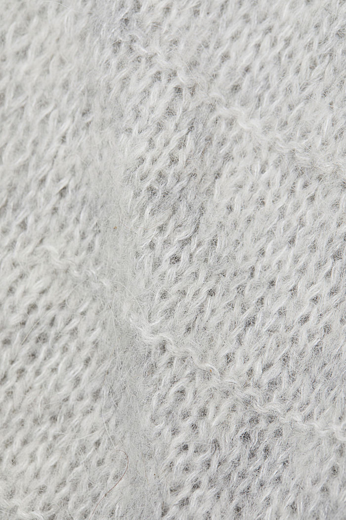 With wool and alpaca: Textured cardigan, LIGHT GREY, detail image number 4