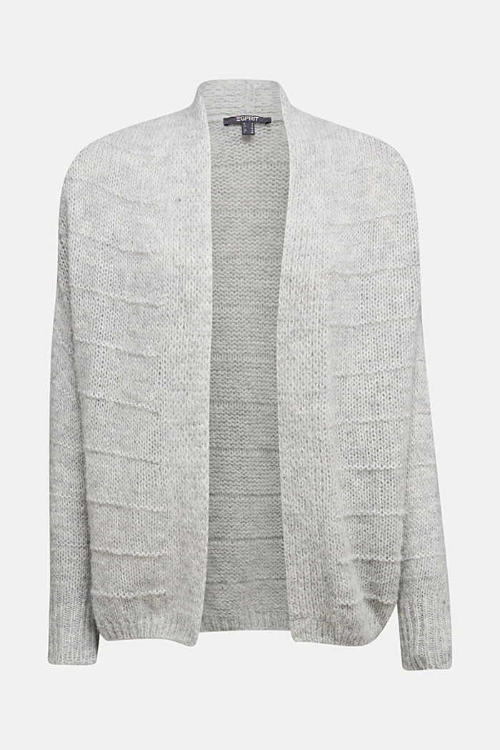 With wool and alpaca: Textured cardigan, LIGHT GREY, detail image number 6