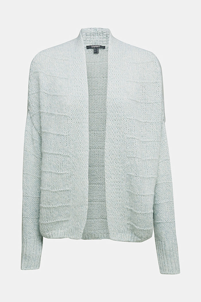 With wool and alpaca: Textured cardigan, PASTEL GREEN, detail image number 6