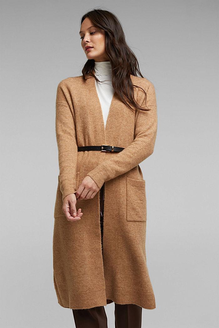 Met wol en lama: vest met ceintuur, BEIGE, detail image number 0