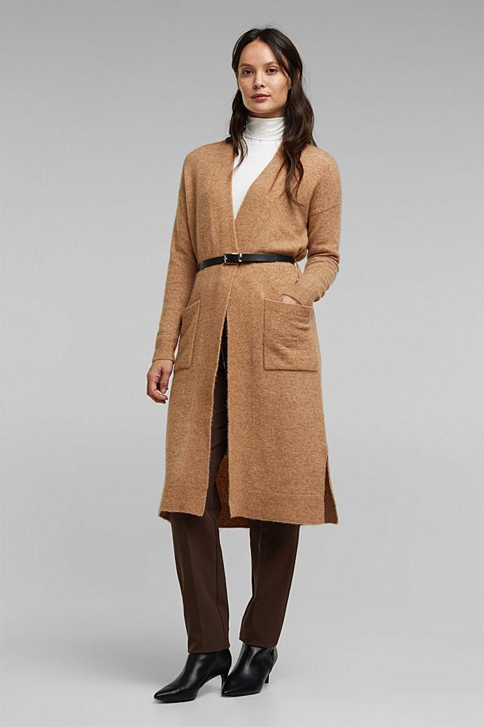 Met wol en lama: vest met ceintuur, BEIGE, detail image number 1
