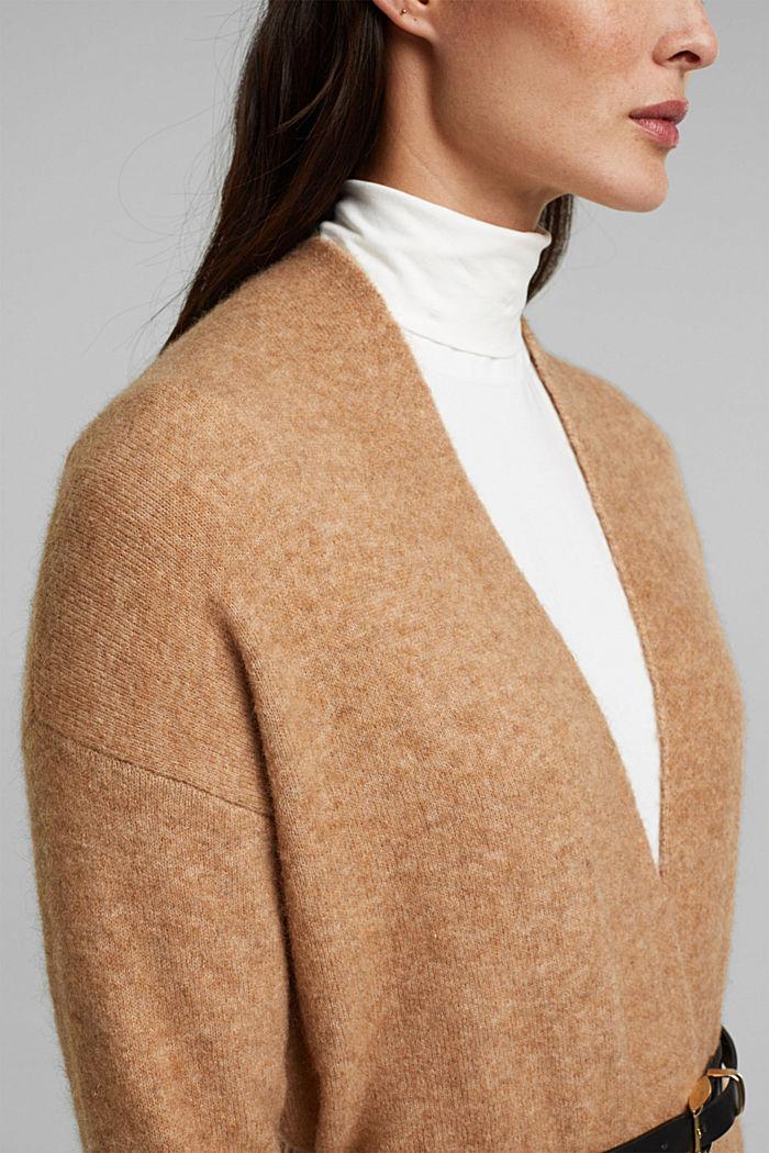 Met wol en lama: vest met ceintuur, BEIGE, detail image number 2