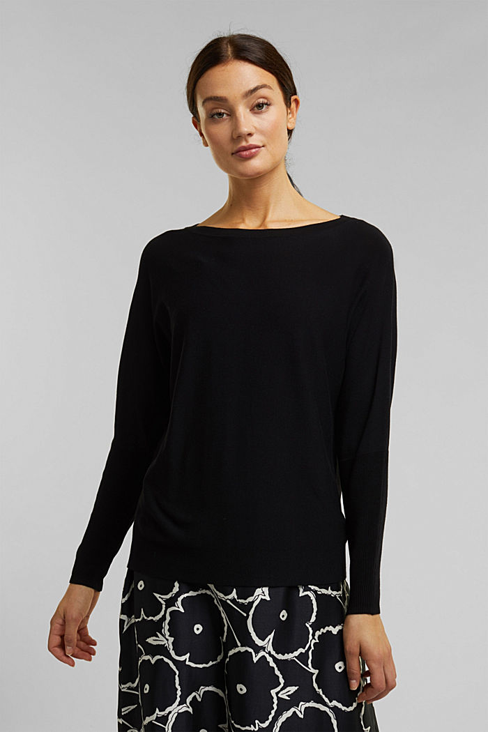Fine jumper with LENZING™ ECOVERO™, BLACK, detail image number 0