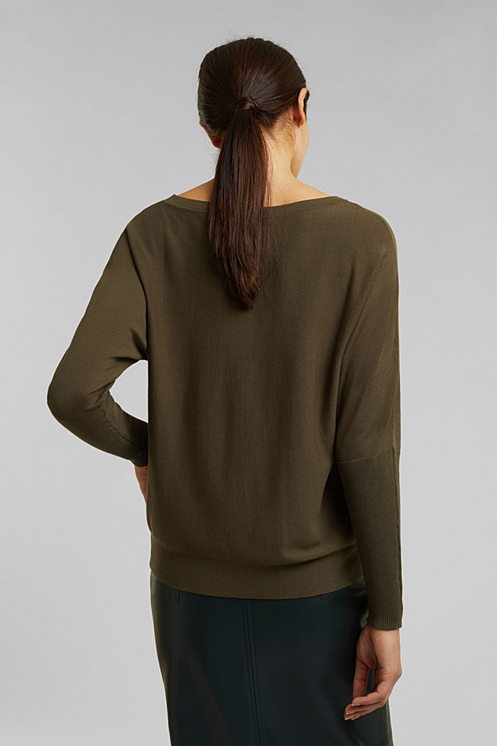 Fine jumper with LENZING™ ECOVERO™, KHAKI GREEN, detail image number 3