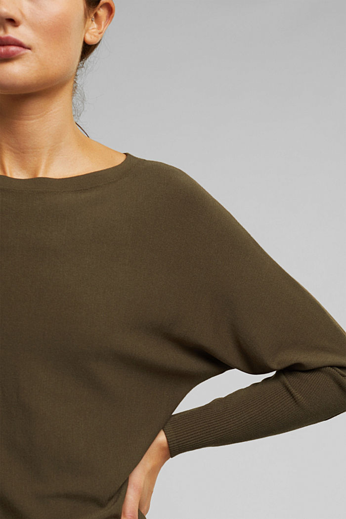 Fine jumper with LENZING™ ECOVERO™, KHAKI GREEN, detail image number 2