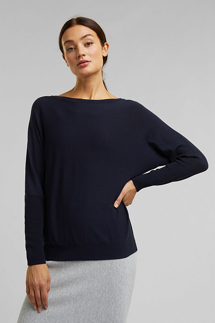 Fine jumper with LENZING™ ECOVERO™, NAVY, detail image number 0