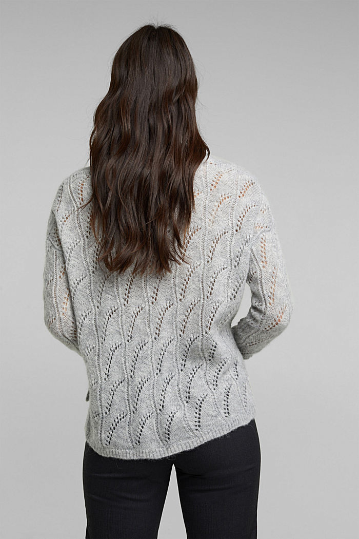 With wool and alpaca: jumper with an openwork pattern, LIGHT GREY, detail image number 3