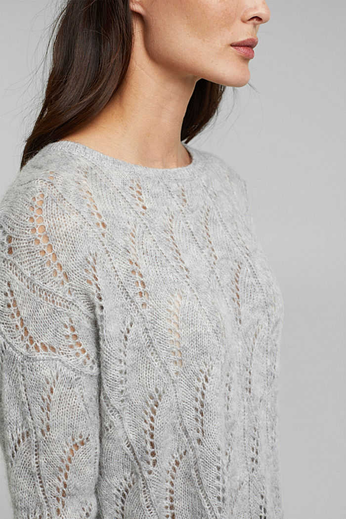 With wool and alpaca: jumper with an openwork pattern, LIGHT GREY, detail image number 2