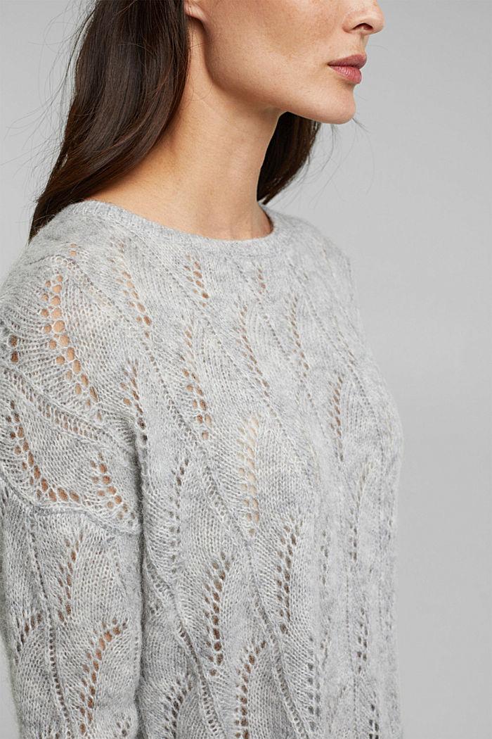 Mit Wolle und Alpaka: Ajour-Pullover, LIGHT GREY, detail image number 2