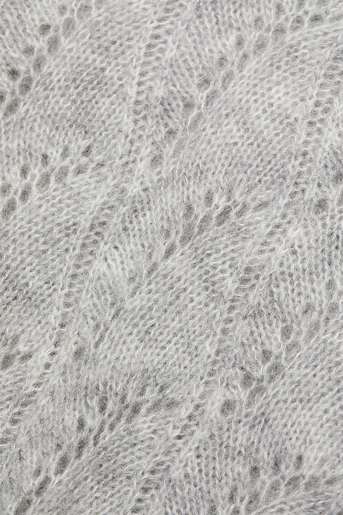 With wool and alpaca: jumper with an openwork pattern, LIGHT GREY, detail image number 4