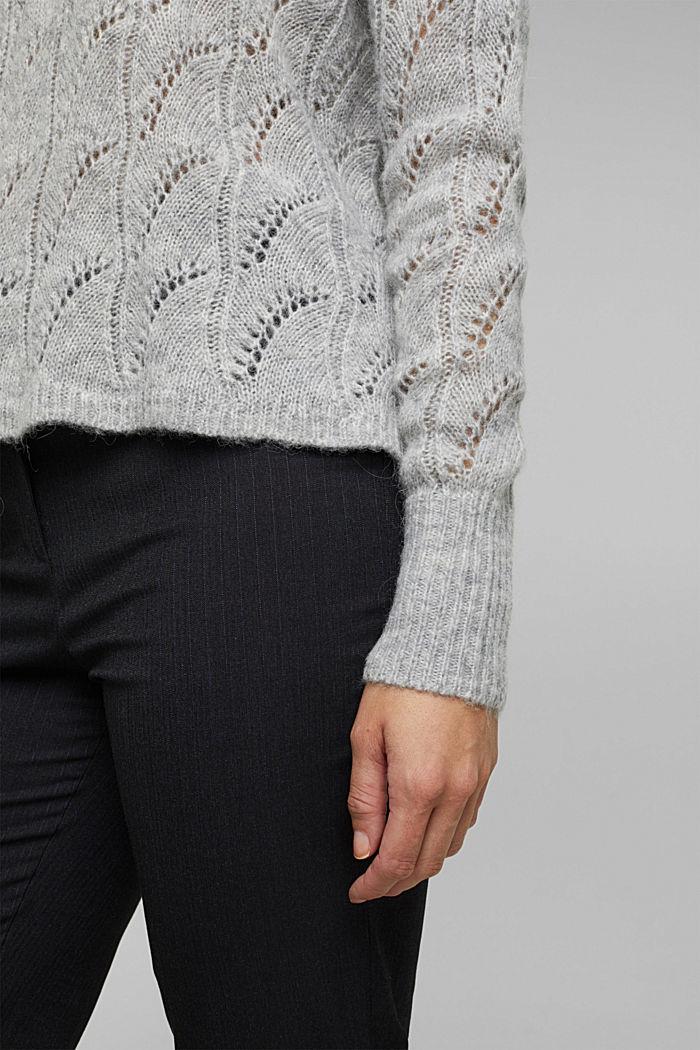 Mit Wolle und Alpaka: Ajour-Pullover, LIGHT GREY, detail image number 5