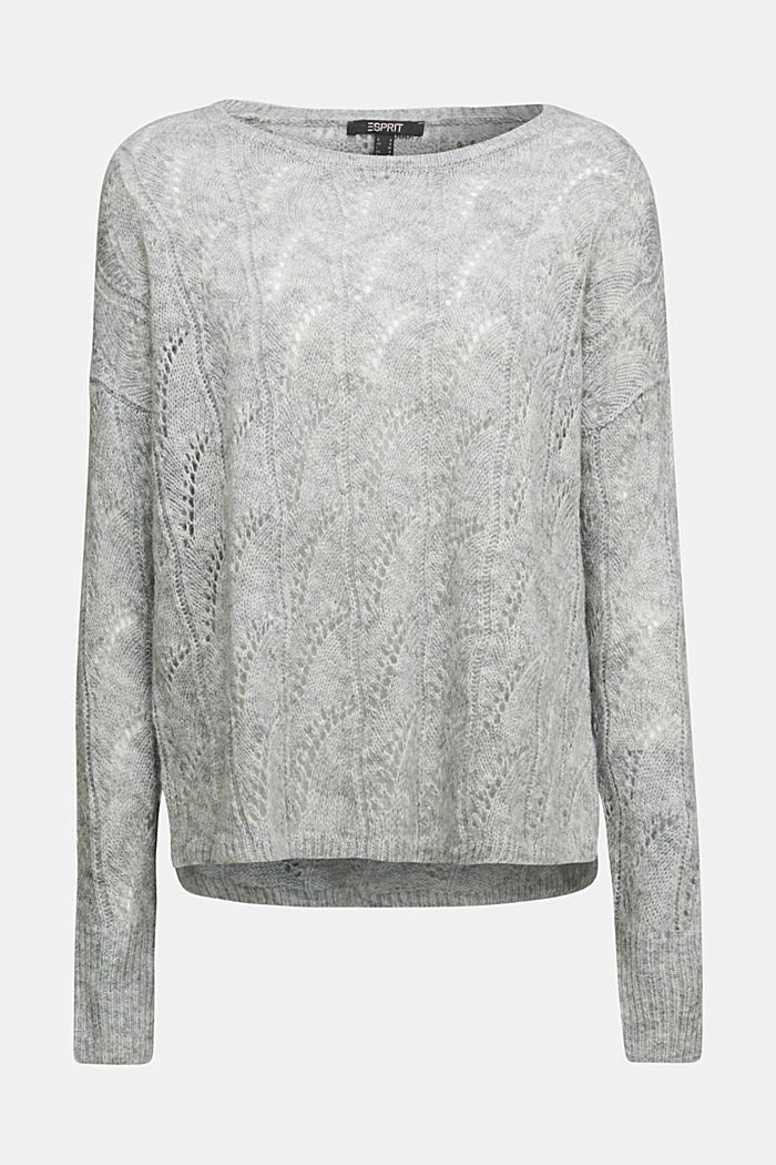 With wool and alpaca: jumper with an openwork pattern