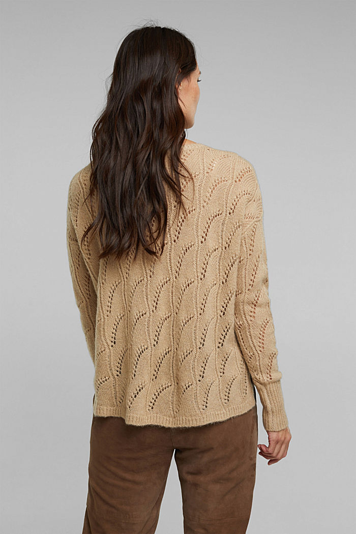 With wool and alpaca: jumper with an openwork pattern, BEIGE, detail image number 3