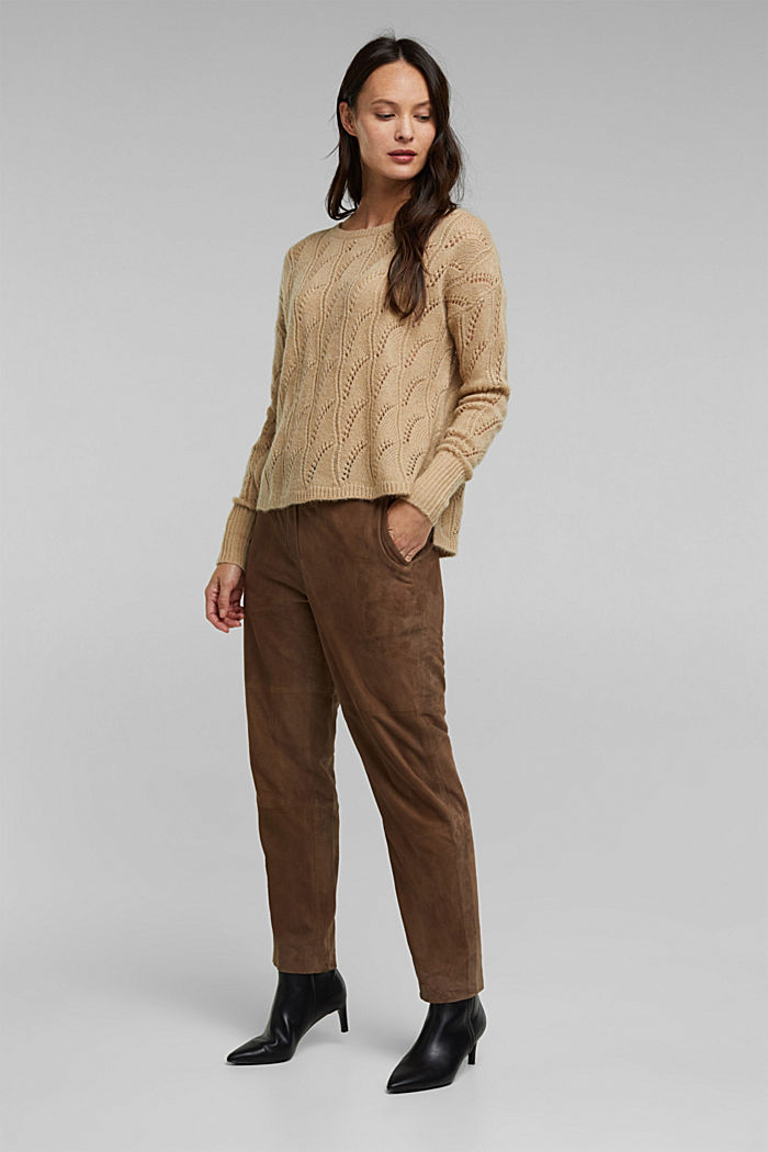 With wool and alpaca: jumper with an openwork pattern, BEIGE, detail image number 1