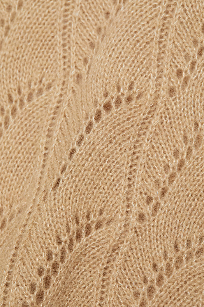 With wool and alpaca: jumper with an openwork pattern, BEIGE, detail image number 4