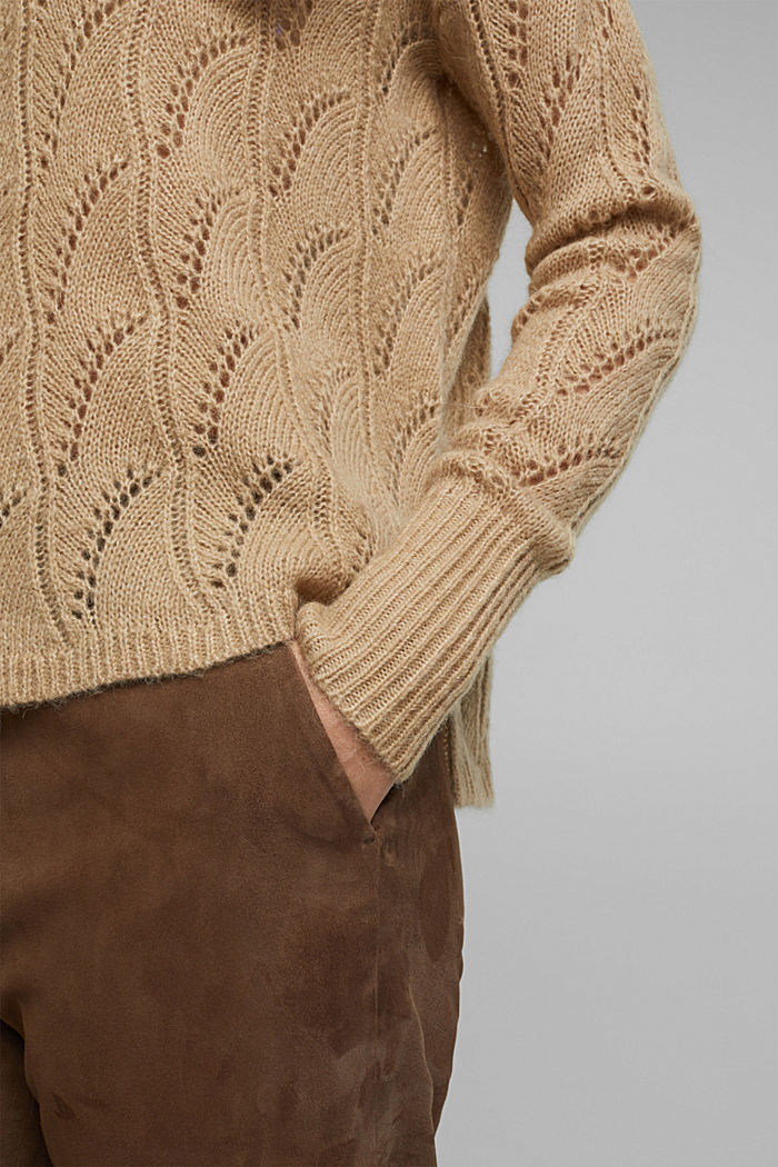 With wool and alpaca: jumper with an openwork pattern, BEIGE, detail image number 5