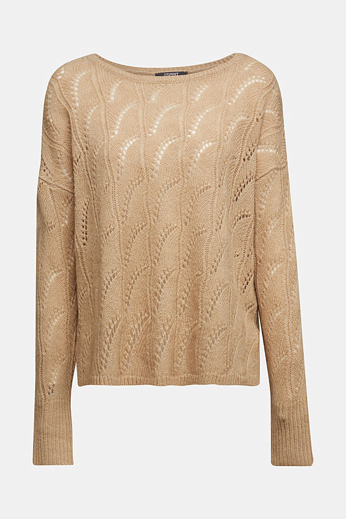 With wool and alpaca: jumper with an openwork pattern, BEIGE, detail image number 6