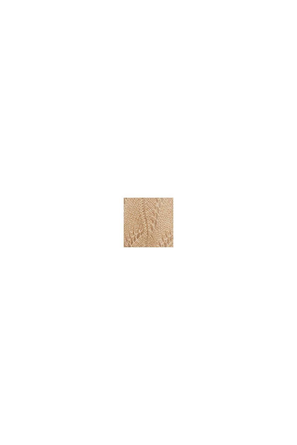 À teneur en laine et alpaga: pull-over ajouré, BEIGE, swatch