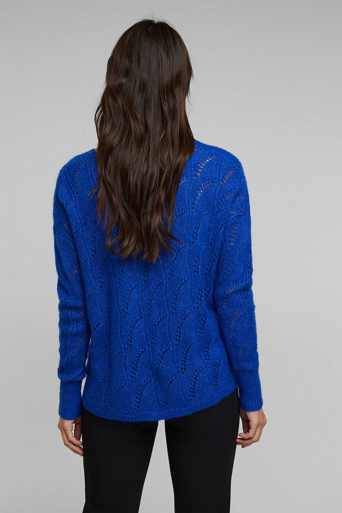 With wool and alpaca: jumper with an openwork pattern, BRIGHT BLUE, detail image number 3