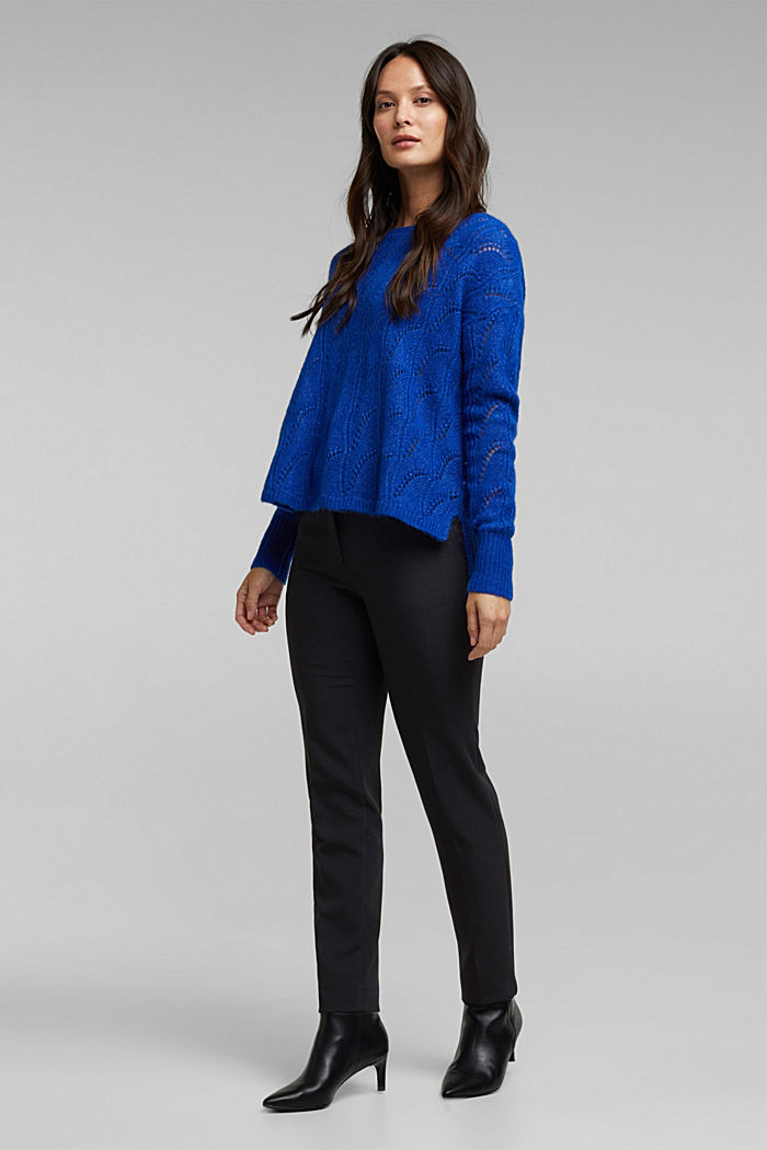 With wool and alpaca: jumper with an openwork pattern, BRIGHT BLUE, detail image number 6