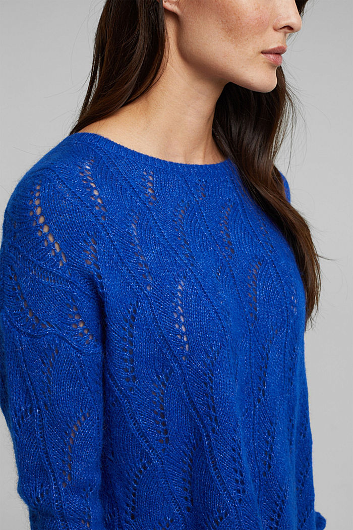 With wool and alpaca: jumper with an openwork pattern, BRIGHT BLUE, detail image number 2