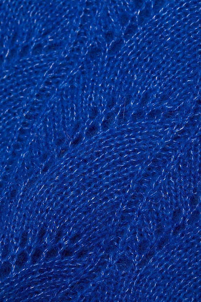 With wool and alpaca: jumper with an openwork pattern, BRIGHT BLUE, detail image number 4