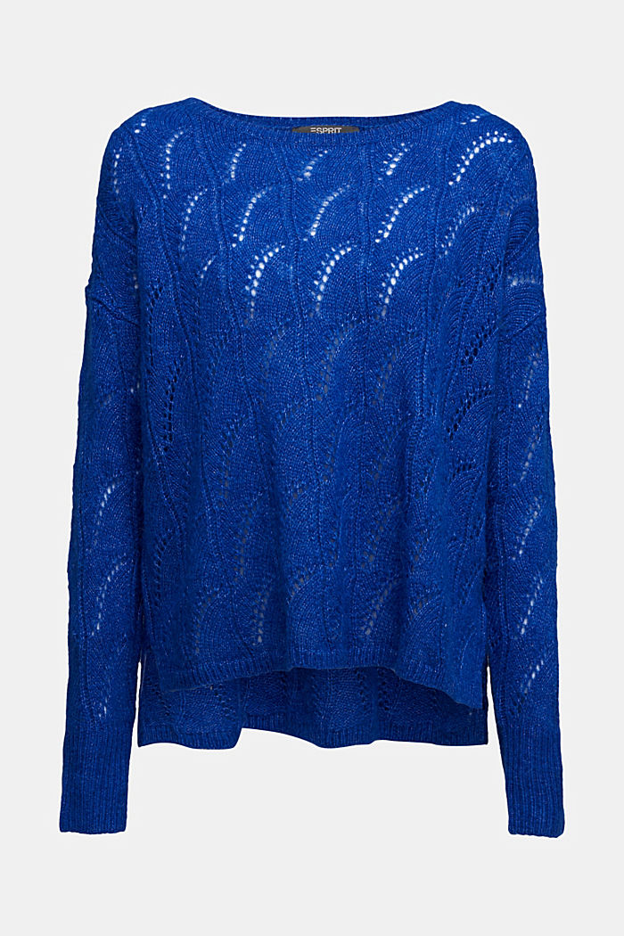 With wool and alpaca: jumper with an openwork pattern, BRIGHT BLUE, detail image number 7