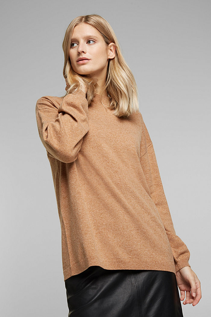 Cashmere blend: jumper with balloon sleeves, CAMEL, detail image number 0
