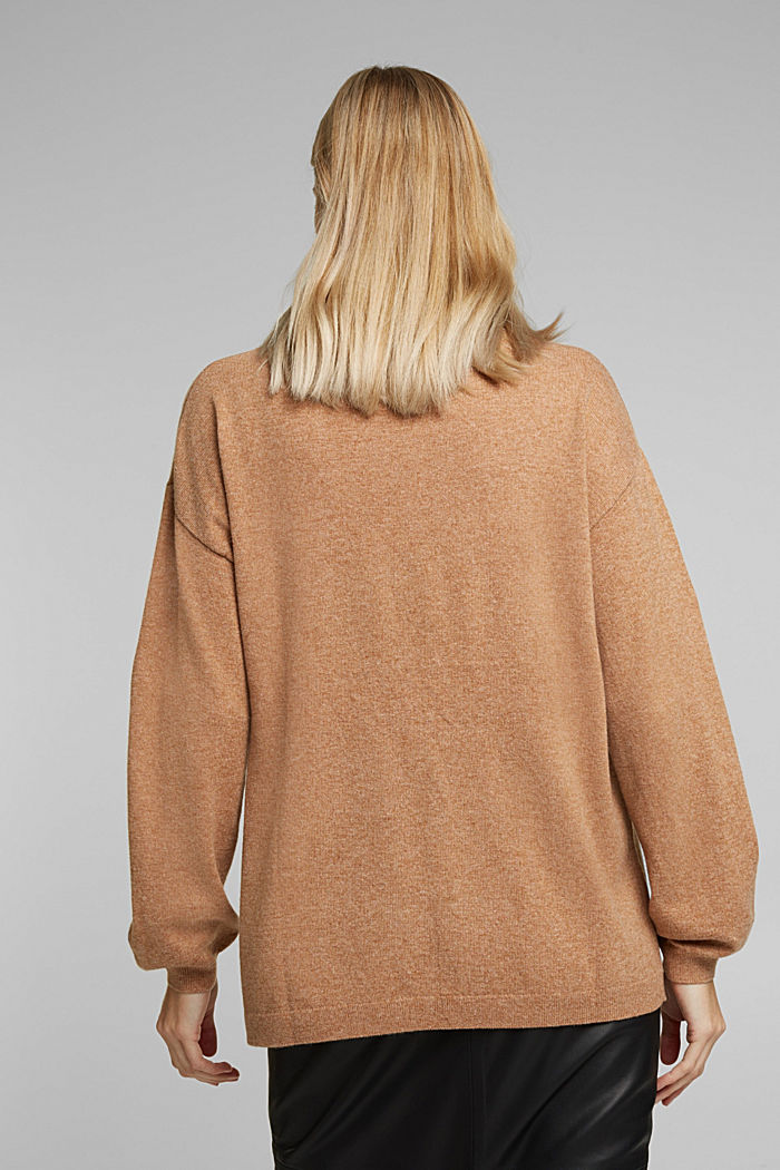 Cashmere blend: jumper with balloon sleeves, CAMEL, detail image number 3
