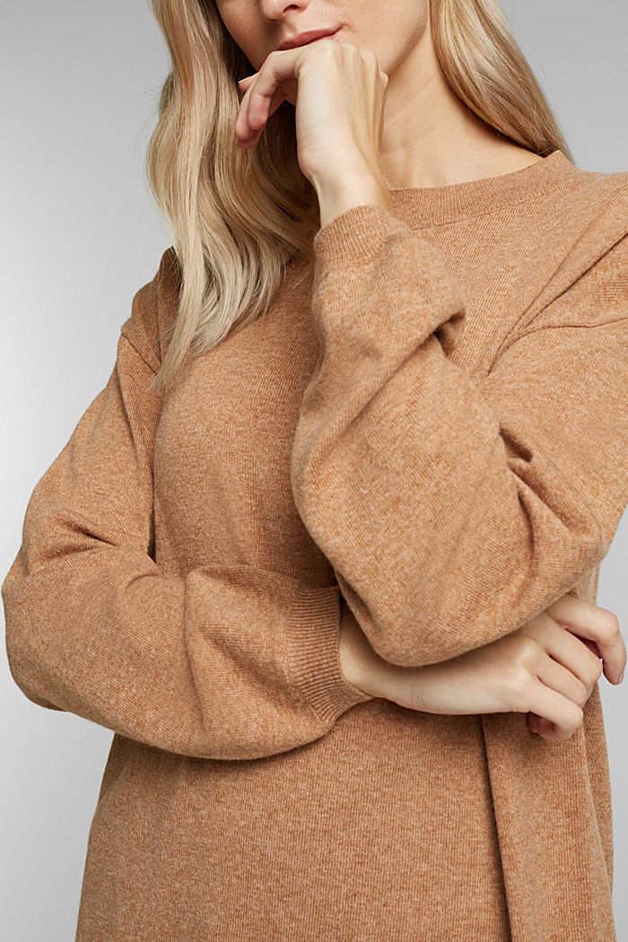 Cashmere blend: jumper with balloon sleeves, CAMEL, detail image number 2