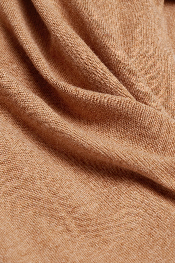 Cashmere blend: jumper with balloon sleeves, CAMEL, detail image number 4