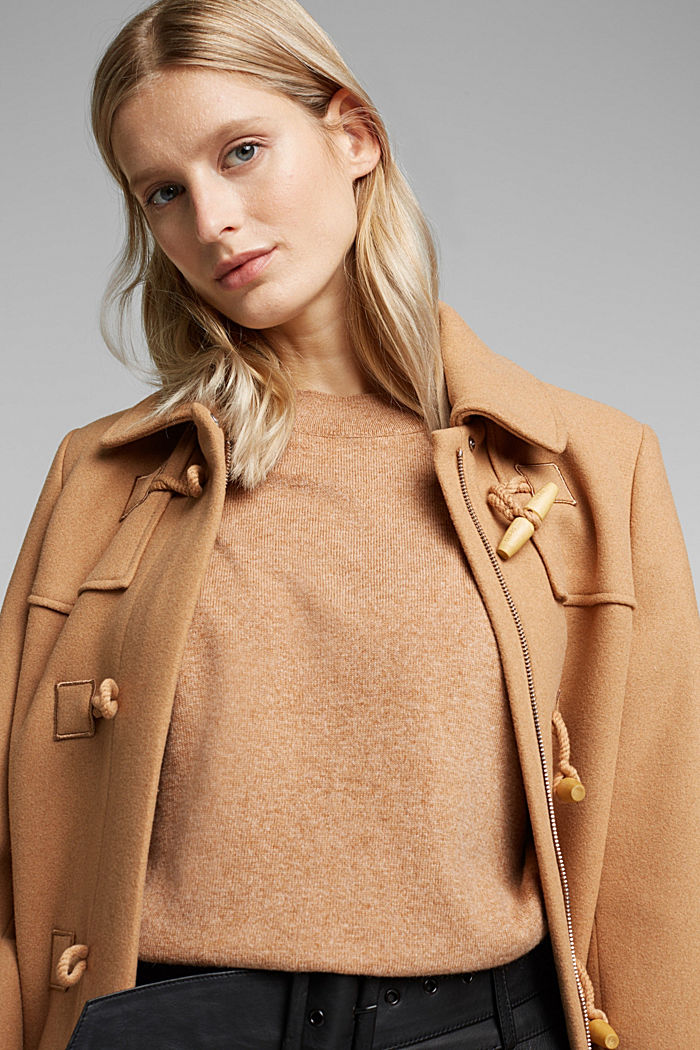 Cashmere blend: jumper with balloon sleeves, CAMEL, detail image number 5