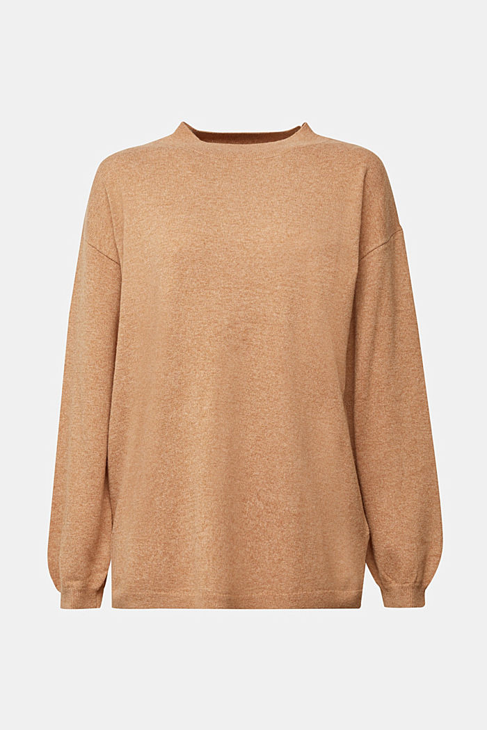 Cashmere blend: jumper with balloon sleeves, CAMEL, detail image number 7