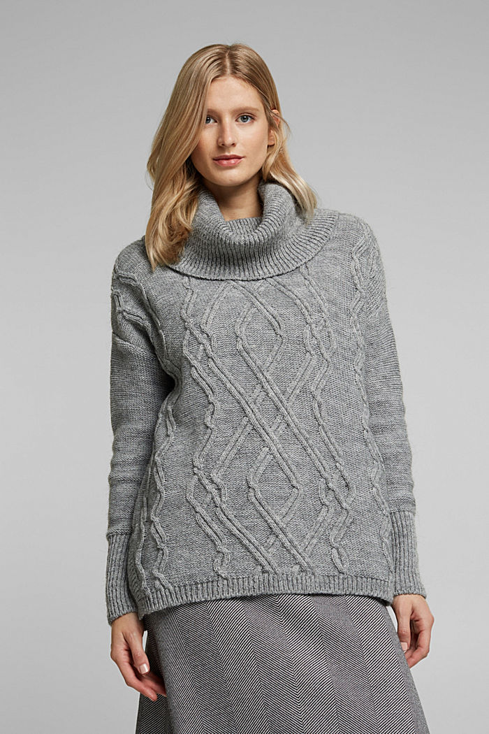 Wool and alpaca blend: cable knit roll neck jumper, LIGHT GREY, detail image number 0