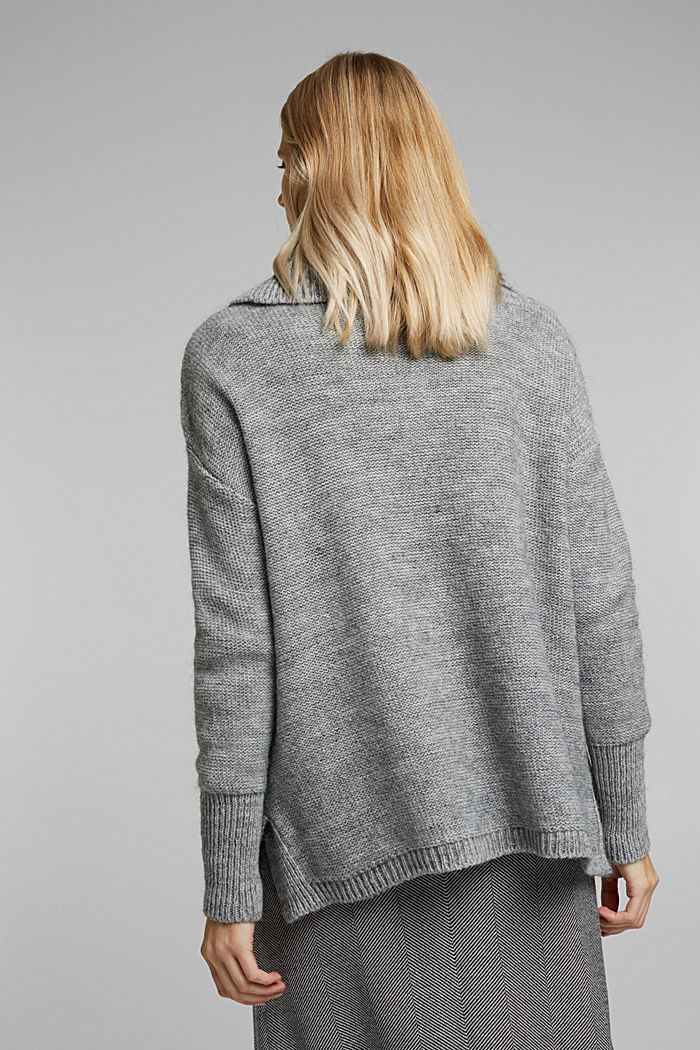 Wool and alpaca blend: cable knit roll neck jumper, LIGHT GREY, detail image number 3